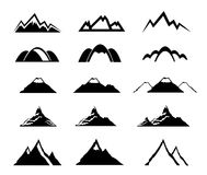 Mountain icons set Stock Photos