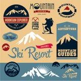 Mountain icons set. Mountain climbing. Climber. Ski Resort. Mountain icons set. Mountain climbing. Climber. Ski Resort labels collection stock illustration