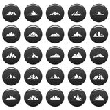 Mountain icons set vetor black. Mountain icons set. Simple illustration of 25 mountain vector icons black isolated Stock Photography