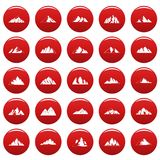 Mountain icons set vetor red. Mountain icons set. Simple illustration of 25 mountain vector icons red isolated Royalty Free Stock Images
