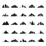 Mountain icons set, simple style. Mountain icons set. Simple illustration of 25 mountain vector icons for web Stock Photography