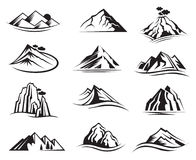 Mountain icons set Stock Images