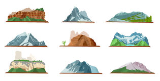Mountain Icons Set. Various Types of Pile Hills Stock Image