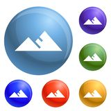 Mountain icons set vector royalty free illustration