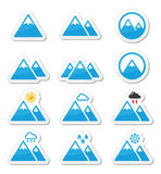 Mountain  icons set. Vector labels set of mountain landscape isolated on white Stock Photography