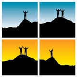 Mountain illustration. 4 versions of silhouette of man and woman standing on a mountain top Royalty Free Stock Images