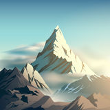 Mountain illustration. Mountain with clouds illustration in vector stock illustration