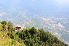 Mountain Inn Hochmuth and village Tirol and Merano panorama in South Tyrol. Italy stock photography