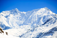 Mountain inspirational landscape, Annapurna range Nepal. Mountain inspirational landscape in Himalayas, Annapurna range, Nepal. Mountain ridge with ice and snow stock image