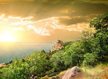Mountain Iphigenia at dawn. In Kastropol in Crimea royalty free stock photo