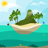 Mountain island in the ocean Royalty Free Stock Image