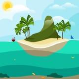 Mountain island in the ocean stock illustration