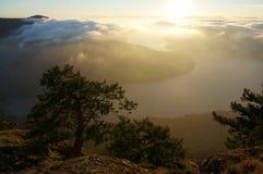 Mountain island vista. Sunset vista from the top of Mount Maxwell Salt Spring Island, BC, Canada Stock Photos