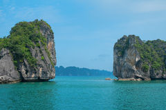 Mountain islands in Halong Bay Stock Photo