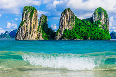 Mountain Islands in Halong Bay royalty free stock photography