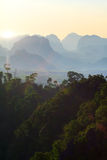 Mountain jungle sunset Stock Photography