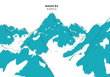 Mountain K2, height relief,. Mountains, Himalayas vector illustration