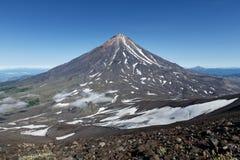 Mountain Kamchatka landscape: view on active Koryaksky Volcano Royalty Free Stock Image