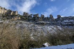 Mountain karstic landscape in Spain. Orbaneja del Castillo. Point of view of Canyon Ebro river in Orbaneja del Castillo in province of Burgos. Spain stock photos