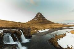 Mountain Kirkjufell Iceland peninsula and waterfall Stock Photos