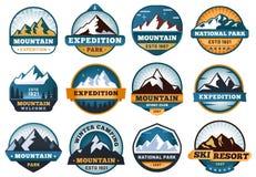 Mountain labels. Hiking emblems, mountains emblem badges and outdoors hill travel label vector set vector illustration