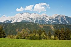Mountain ladscape with blue sky above Royalty Free Stock Photo