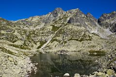 Mountain lake. Guarded with high peaks stock images
