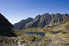 Mountain lake. Guarded with high peaks stock photos