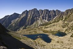 Mountain lake. Guarded with high peaks royalty free stock image