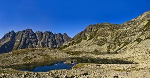 Mountain lake. Guarded with high peaks royalty free stock photo
