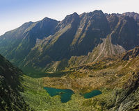 Mountain lake. Guarded with high peaks stock image