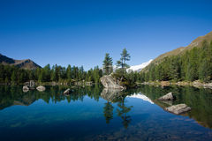 Mountain lake. Peaceful deep blue lake in the alps Royalty Free Stock Photos