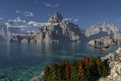 Mountain Lake. This image shows a mountain lake with flying eagle stock illustration