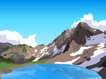 Mountain lake. View on lake and mountain massive with snow Royalty Free Stock Photography