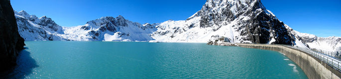 Mountain lake 2. Luenersee (Lunersee), Vorarlberg, Oesterreich, Austria. At a height 1970m above sea level. Water reservoir used for power generation. The water Royalty Free Stock Photography