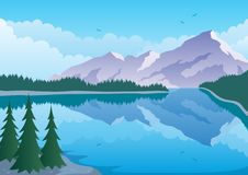 Mountain Lake. Illustrated landscape of а mountain and lake Royalty Free Stock Images