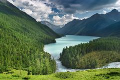 Mountain lake. Landscape with mountains, forest and beautiful turquoise lake Royalty Free Stock Photos