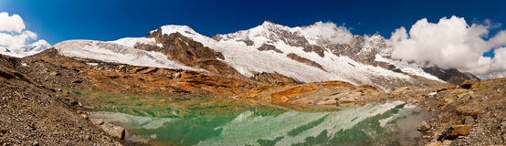 Mountain Lake. A panorama of a mountain lake near Saas Fee (Wallis, Switzerland) In the background: amongst other +4000m alpine mountains, the Dom, the highest royalty free stock photography
