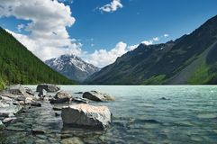Mountain lake. Landscape with mountains, lake and blue sky Stock Image