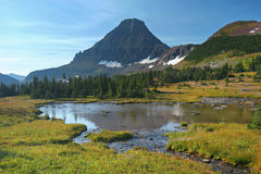 Mountain Lake. Hidden Lake Trail, Logan Pass, Glacier National Park, Montana, United States Stock Photos