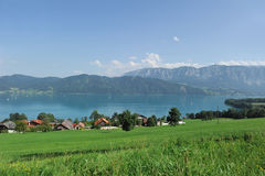 Mountain lake. Landscape with mountain lake, Attersee Stock Photo
