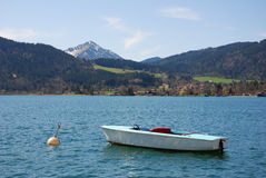 Mountain lake. In bavaria with boat Stock Images