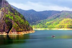 Mountain lake. Take on Vidraru dam, Romania royalty free stock photography