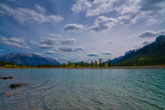 Mountain Lake. Spray lake reservoir in the Canadian Rocky Mountains Stock Image
