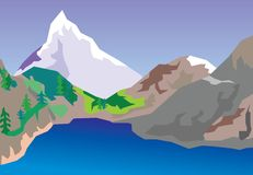 Mountain lake. The vector image of the lake located in mountains Vector Illustration