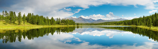 Mountain lake. Mountain panorama with lake, forest and blue sky stock image