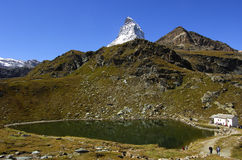 Mountain lake. Lake Schwarzsee, Mont Cervin, Matterhorn, Zermatt Valais Switzerland Royalty Free Stock Photography