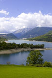Mountain lake. View across a mountain lake in Abruzzo, Italy Royalty Free Stock Photo
