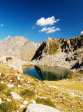 Mountain lake. A beautiful mountain lake with reflections and a deep blue sky. You can find it on the Alps, Italy Stock Photography