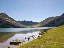 Mountain and lake. Of the region Asturias in Spain Royalty Free Stock Photos